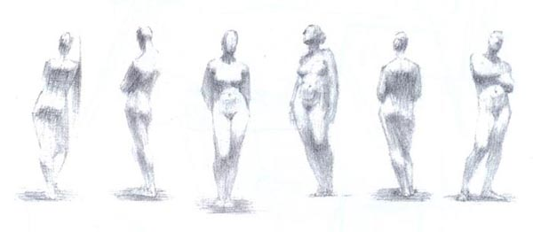 Human figure sketches and sketches